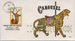 #2390 FDC 10/1/1988 SANDUSKY, OH HAND PAINTED BY COLLINS CACHET BU1169