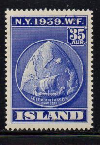Iceland Sc 214 1939 35 aur  Leif Ericsson stamp mint