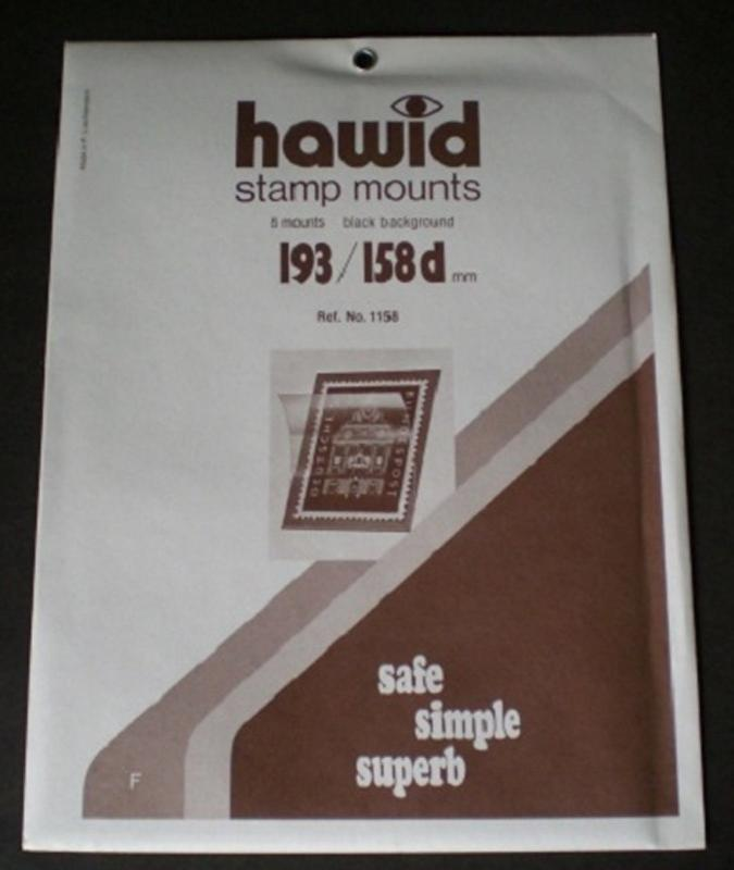 Hawid Stamp Mounts Size 193/158d BLACK Background Pack of 8