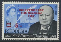 Rhodesia   SG 373 SC# 222  MH  Churchill  OPT Independence see details
