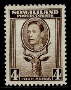 SOMALILAND PROTECTORATE GVI SG97, 4a sepia, LH MINT.