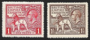 Doyle's_Stamps: MNH 1924 British Empire Expo Set, Scott #185** & #186**     (d2)