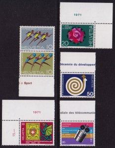 Switzerland - 1971 - Scott #524-529 - MNH - Various