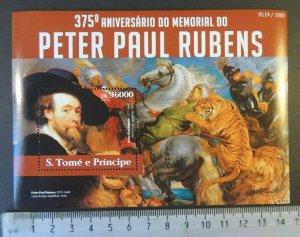 St Thomas 2015 peter paul rubens tigers horses animals art s/sheet mnh