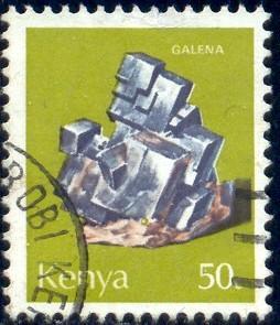 Mineral, Galena, Kenya stamp SC#102 used