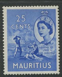 Mauritius - Scott 258 - QEII Definitives -1954 -MLH -Single 25c Stamp
