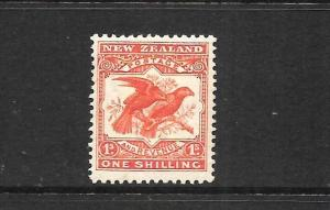 NEW ZEALAND 1907-08  1/-  PICTORIAL MLH  REDUCED P14x15     SG 385  CP E19b