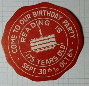 Reading Is 75 Yrs Old Birthday Cake State Tourism Ad Poster Stamp