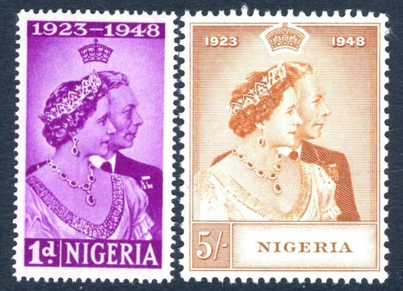 NIGERIA-1948 Royal Silver Wedding Set Sg 62-63 UNMOUNTED MINT V17447