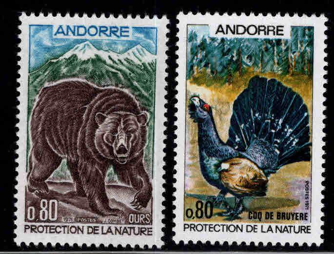 Andorra (French ) Scott 203-204 MNH** Wildlife set 1971