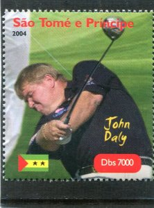 Sao Tome & principe 2004 GOLF John Daly American 1v Perforated Mint (NH)