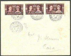 MOROCCO AGENCIES 1937 Coronation FDC - 3 different currencies..............76395