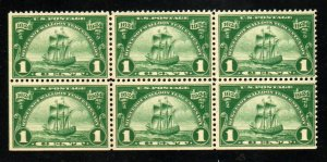 614 1c HUGENOT WALLOON NEVER MINT HINGED PLATE BLOCK 6 ⭐⭐⭐⭐⭐