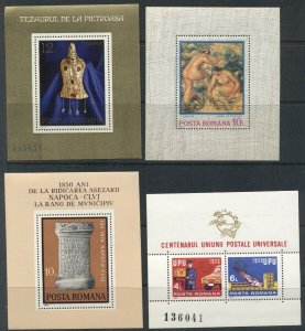 ROMANIA: Nine 1973-75 MNH Souvenir Sheets; SOCCER SPACE NUDES UPU, STAMP SHOWS