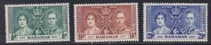 Bahamas # 97-99, 1937 Coronation, Hinged, Half Cat