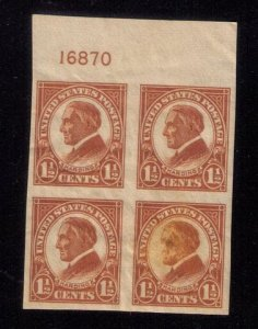 US SCOTT #576 ,MNH,Og P# Block Of Four Natural Inclusion Lower R Very Fine
