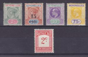 Seychelles Sc 1/J1 MLH. 1890-1951 issues, 5 diff