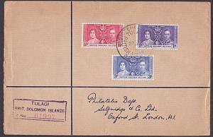 SOLOMON IS 1938 Registered cover - Coronation set - Tulagi Reg cds.........5009