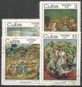 CUBA Sc#1564-1567  CUBAN FOLKLORE Black Magic Feast CPL SET of 4  1970 used /cto