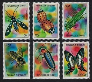 Guinea Butterfly Ladybird Bee Beetle Grasshopper Insects 6v SG#819-824