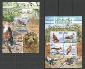 ST2813 2013 NIGER FAUNA BIRDS OF PREY LES OISEAUX DE PROIE 1KB+1BL MNH