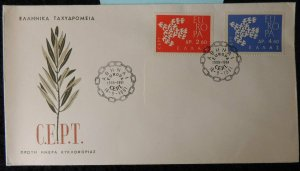 Greece 1961 FDC europa cept olive branch chain cancel good used