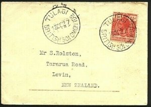 SOLOMON IS 1927 1½d on commercial cover TULAGI to New Zealand..............19701