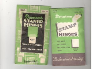 DENNISON STAMP HINGES IN BOTH OPEN AN UNOPEN PACKAGES, LOT OF 2