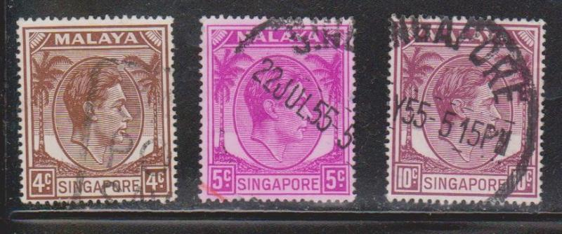 SINGAPORE Scott # 4a, 5, 9a Used - KGVI Definitives