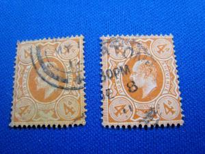 GREAT BRITAIN  -  SCOTT # 144 & 144c  -  Used      (brig)