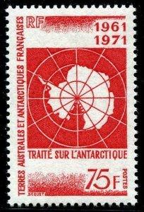 HERRICKSTAMP FRENCH ANTARCTIC Sc.# 45 1971 Treaty (Map) Mint NH Cat. Value $28