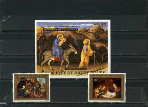 UPPER VOLTA 1972 CHRISTMAS PAINTINGS SET OF 2 STAMPS & S/S MNH