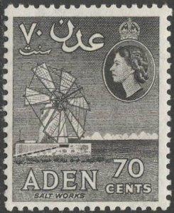 ADEN Arabian Gulf  1954 Sc 54b,MLH VF, 70c Salt Works, grayish black
