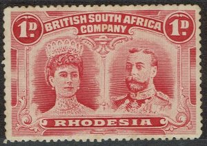 RHODESIA 1910 KGV DOUBLE HEAD 1D PERF 15