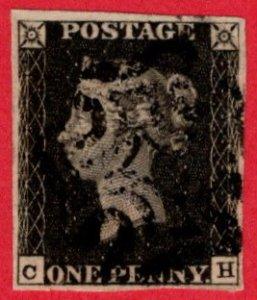 GBR SC #1 U (C,H) 1840 Queen Victoria black MC cancel 4 margins CV $360.00