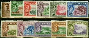 Dominica 1938-47 Set of 11 to 1s SG99-106 & 109a Fine Mtd Mint