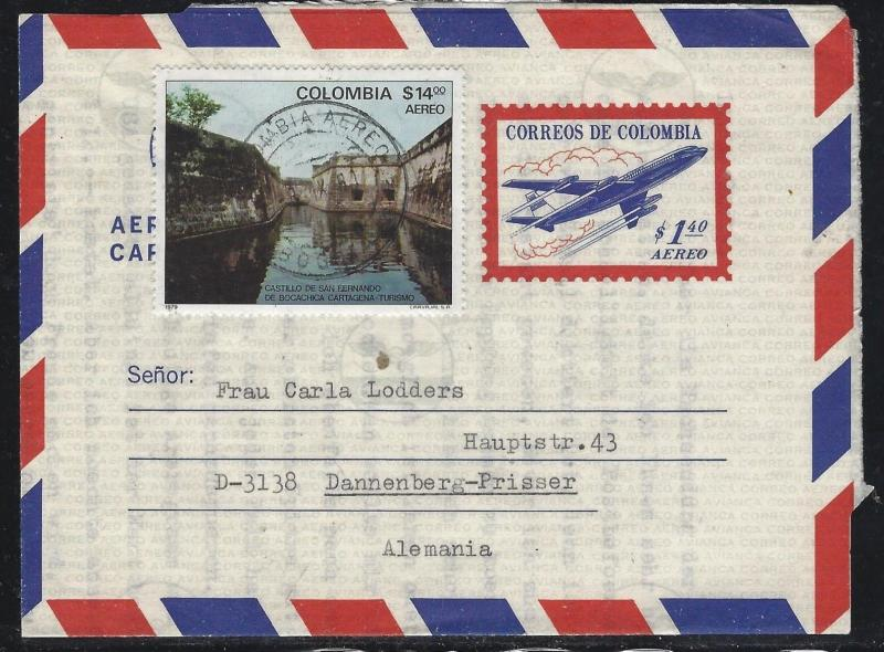 COLOMBIA  (PP0308B) 1.40 AIRPLANE AEROGRAMME UPRATED 14.00 TO GERMANY