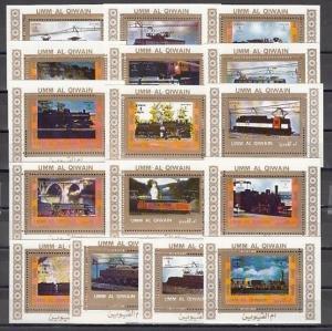 Umm Al Qiwain, Mi cat. 1210-1225 C. Various Trains on White small s/sheets. ^