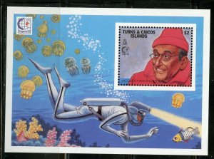 TURKS & CAICOS AUTONOMOUS DIVING COUSTEAU SET OF TWO SOUVENIR SHEETS MINT NH