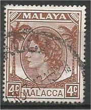 MALACCA, 1954, used 4c, Elizabeth II Scott 31