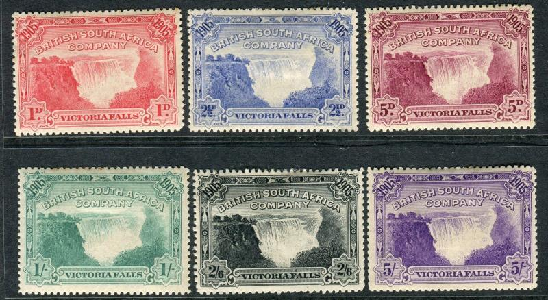 RHODESIA-1905 Victoria Falls.  An average mounted mint set Sg 94-99