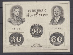 Z3934, 1943 brazil issued mng s/s mnh #612, stamps on stamps