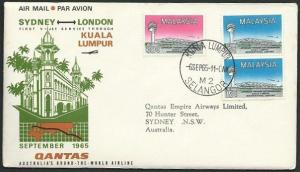 MALAYA 1965 Qantas first flight cover Kulala Lumpur to Sydney..............38923