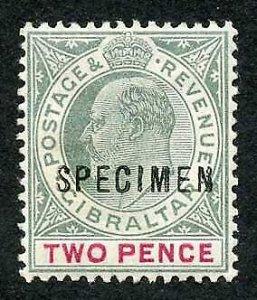 Gibraltar SG48 2d grey-green and carmine wmk Crown CA Opt SPECIMEN