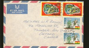 Ghana Multi-stamp Postmarked 1970 Airmail Cover Used