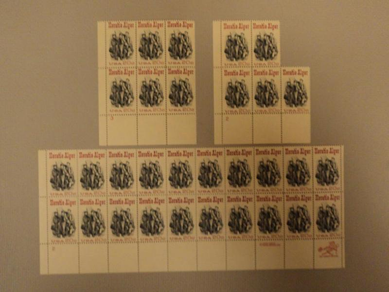 USPS Scott 2010 20c 1982 Horatio Alger Lot of 3 Plate Blo...