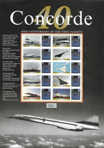 BC-194 GB 2009 40th Anniversary Concorde Smiler sheet UNMOUNTED MINT