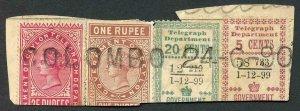 Ceylon Telegraph FOUR COLOUR FRANKING on piece