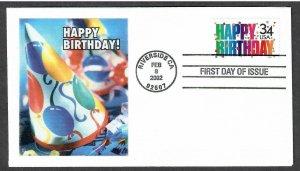 US # 3558 Happy Birthday - Lakestamps Silk Cachet FDC - I Combine S/H