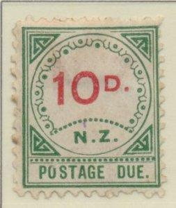 New Zealand Stamp Scott #J9, Unused, No Gum, Toning, Small :D, Large NZ -...